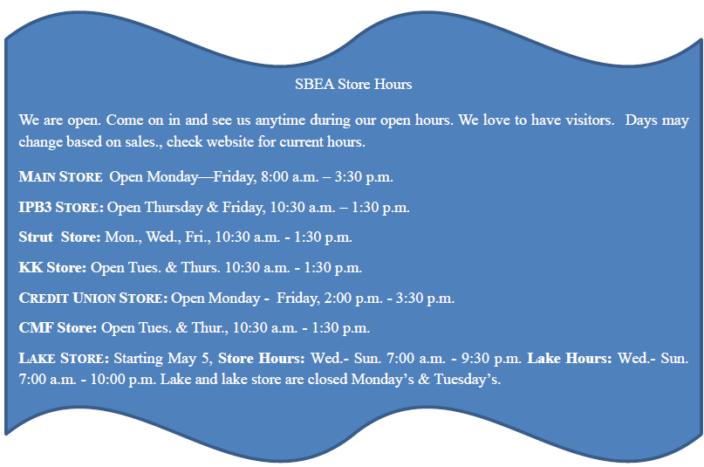 SBEA Store hours 5-10-21